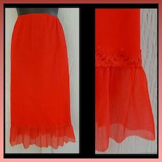 Red Nylon Half Slip Crystal Accordion Trim Size Large L