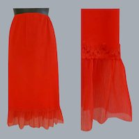 Red Nylon Half Slip Crystal Accordion Trim Large