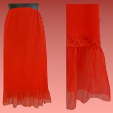 Red Nylon Half Slip Crystal Accordion Trim Large