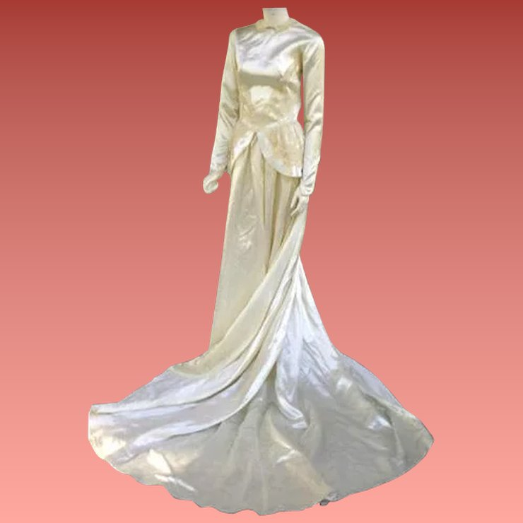 1940s Bridal Satin Wedding Gown Cathedral Train Size Small Dress ...