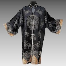 1930s Silk Asian Chinese Coat Gold Silver Bullion Embroidery Medium