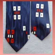 1960s Blue Faultless Neck tie Navy White Red Mid Century