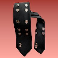 1960s Men's Black Silk Necktie Printed with Pink Candlestick Telephones