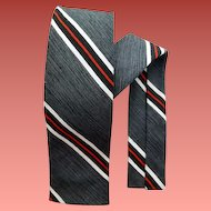 1960s Narrow Necktie Charcoal Black White Stripe Skinny Classic