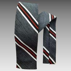 1960s Narrow Necktie Charcoal Black White Stripe Skinny Classic