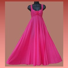 Spectacular Vintage Nightgown Bright Pink Size Small Brilliant