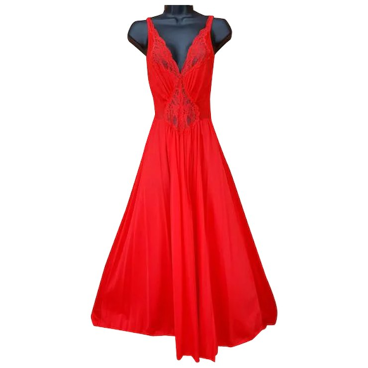 Vintage Olga Nightgown Roaring Red Size Medium M Lace Bodice SOLD ...