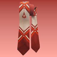 Vintage Necktie Narrow 1960s Dramatic Print Classy Man Neck Tie