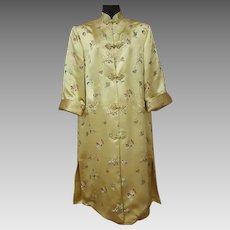 Asian Evening Coat Gold Silky Rayon Brocade Size Large Lg