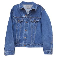 Levi Strauss Big E Denim Jacket 2 Pocket Single Stitch 525 Button