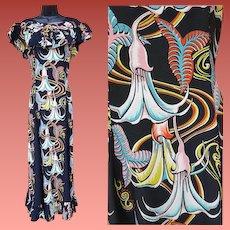 Rare 1940s Kamehameha Rayon Dress Evening Gown Angel Trumpet Signature Fabric Hawaii