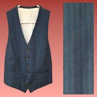 Men's 1930s Vest or Waistcoat Subtle Blue Stripe 6 Button Hipster Woman