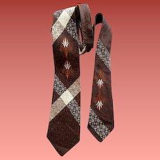 1960s Necktie Damask Neck Tie Narrow Width