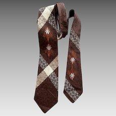 Vintage 1960s Necktie Damask Men's Neck Tie