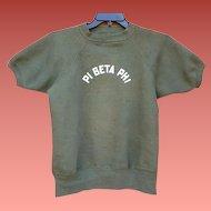 1960s Sweatshirt Pi Beta Phi Sorority Short Sleeve  Small - Medium