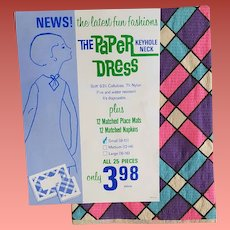 1960s Original Ultra Mod Paper Dress In Package with Napkins Place Mats Size Small