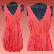 1960s Lingerie Lounge Romper One Piece Bubble Coral Nylon Medium