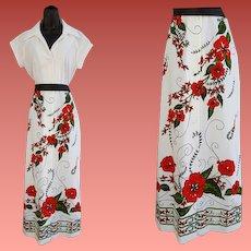 Vintage Dress Alfred Shaheen Floor Length Size Medium