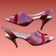 1960s  High Heel Shoes Unworn Burgundy Leather Size 8-1/2 -  9