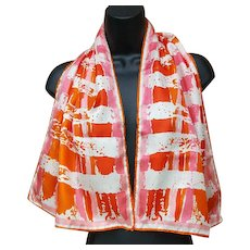 Vera Neumann Long Rectangle Scarf Sizzling Summer into Autumn Colors