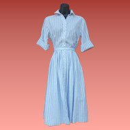 1960s Cotton Shirt Dress Blue Ribbon Fabric Size Large