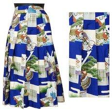 Vintage Silk Skirt Asian Art Print Size Small Vivid Colors