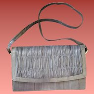 Vintage Eel Skin Purse Gray Leather Handbag Clutch Style