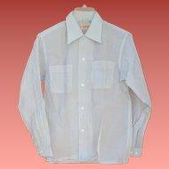 1950s Men's  Shirt Crisp See Through Nylon Size Small Unworn Mint