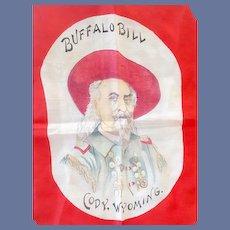 Antique Silk Scarf Buffalo Bill Cody Wyoming Rare