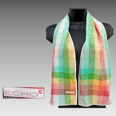 Vintage Silk Scarf Long Rectangle by Echo Multi Colored Mint