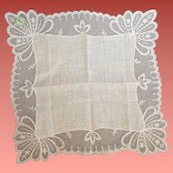 Wedding White Lace Handkerchief Linen Austria Mint