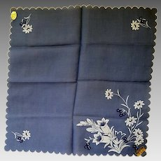 Vintage Switzerland Blue Linen Handkerchief White Embroidered Flowers Hanky