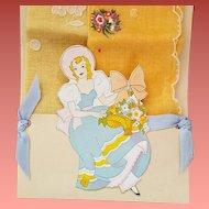 1930s Beautiful Lady Die-Cut Handkerchief Holder with Two Unused Hankies