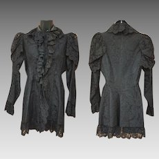 Antique 1880's Mourning Jacket in Black Cotton Lace Size Med