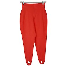 Vintage Stirrup Pants Coral Unworn Knit High Waist Medium - Red Tag Sale Item