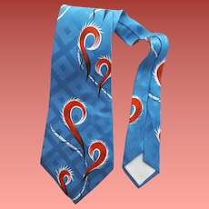 1950s Wide Rayon Necktie Rayon Abstract Print