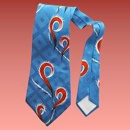 1950s Wide Vintage Necktie Rayon Jacquard Surrealistic Print