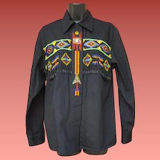 Women's Cotton Blouse Hand Beaded Western Theme Size Large 1980
