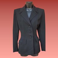 1940s Suit Jacket Black Gabardine Size Large High Hollywood