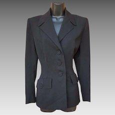 1940s Suit Jacket Black Gabardine Size Large High Hollywood
