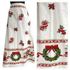 1960s Christmas Skirt Holiday Print Hostess Size Small - Red Tag Sale Item
