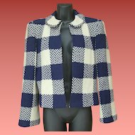 1940s Women's Crop Wool Jacket Plaid Chevron Check Size Small