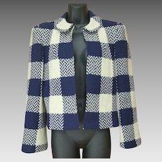 1940s Women's Crop Wool Jacket Plaid Chevron Check Size Small