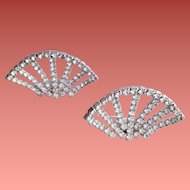 1960s Rhinestone Shoe Clips Flashy Fan Shaped Sparkle