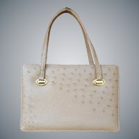 Gorgeous 1960s Taupe Ostrich Leather Purse Minty
