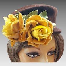 1950s Hat Cocoa Brown Felt Fur Golden Velvet Roses Posh Autumn Chapeau