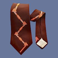 Men's 1940s Vintage Necktie Mid Century Modern Geometric