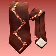 Men's 1940s Vintage Necktie Brown Rayon Mid Century Modern Geometric Print