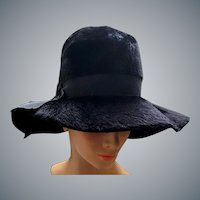 Wide Floppy Brim Black Hat Brushed Italian Felt Fur Fabulous