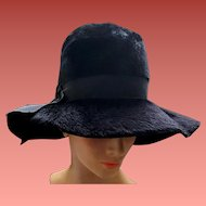 Wide Floppy Brim Black Hat Brushed Italian Felt Fur Fabulous 1970s